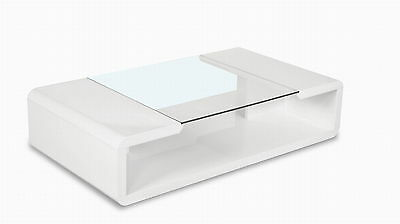 Glass Coffee high gloss white table black Stylish Modern Contemporary Room