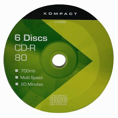 6 CD-R Discs 700MB 80 Minutes Capacity PC Data Video CD Music Recording  CDR