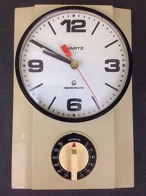 Vintage Wall Clock With Timer Made In Poland by Mera-Poltik Mid Century Clock