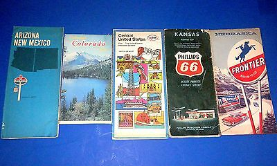 Lot Vintage Oil Company Road Maps - American, Kerr-McGee, Phillips 66 & Frontier