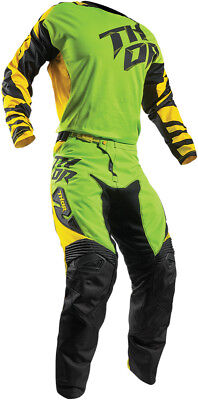 Thor Flo Green/Yellow Mens Fuse Dazz Dirt Bike Jersey & Pants Kit Combo 2017