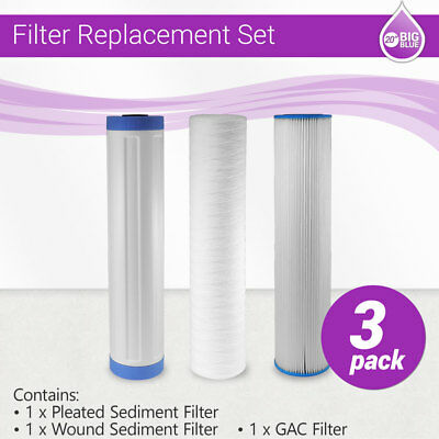 """20"""" x 4.5"""" Big Blue Whole House Pleated, GAC and String Wound Filter Replacment"""