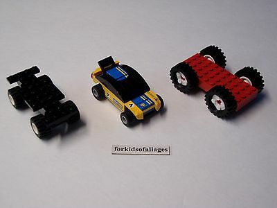 3 Lego Car Bases With Wheels/Tires Lot #1 - Build Your Own Vehicles