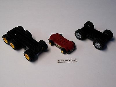 3 Lego Car Bases With Wheels/Tires Lot #6 - Build Your Own Vehicles