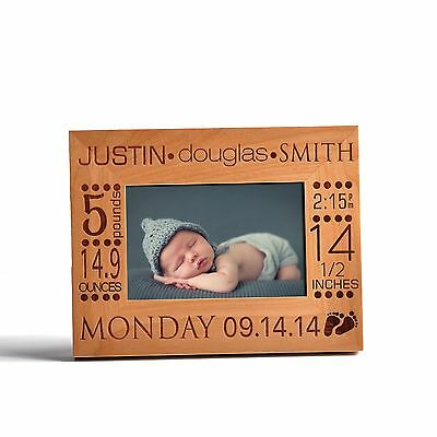 personalized birth announcement wooden photo frame new born baby
