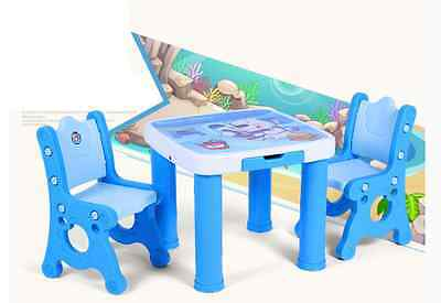 3Pcs Children Todder Kids Study  1 Table 2 Chairs with 2 Drawers Pink&Blue
