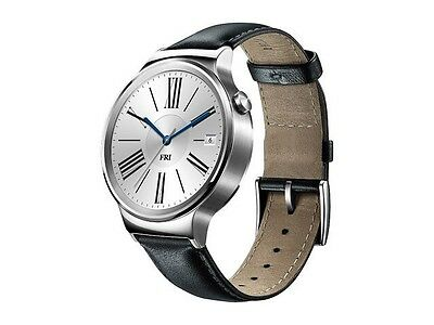 NEW Huawei Watch Stainless Steel with Black Suture Leather Strap Model 55020533
