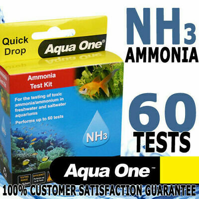 Aqua One Aquarium Fish Tank Freshwater Saltwater Ammonia NH3 Test Kit 60