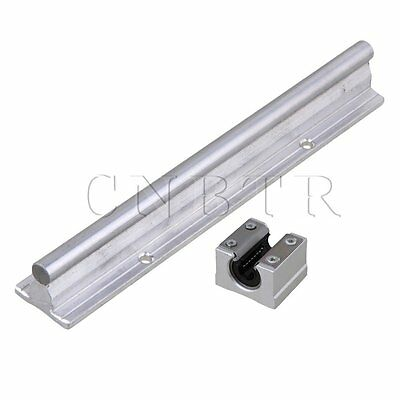 2x Silver CNBTR 10mm Shaft 200mm Linear Bearing Rail w/ Open Linear Slide