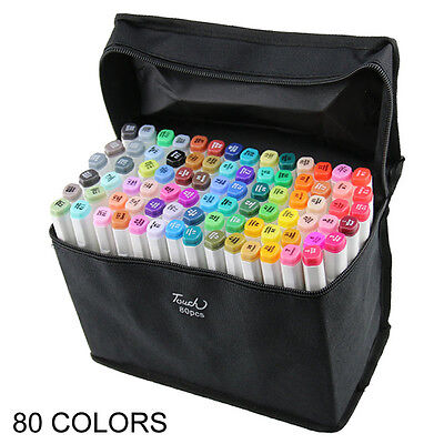 80 Colors China Touch Five Graphic Art Twin Tip Pen Twin Marker + Gifts