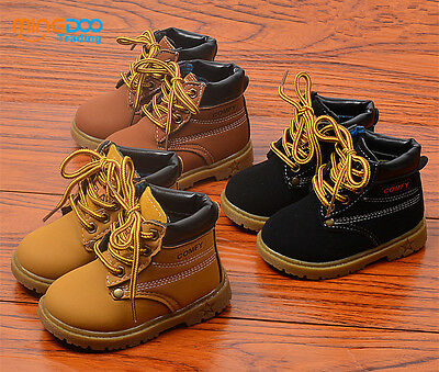 New Fashion Kids Boys Martin Boots Toddler Short Boots Shoes Laces Size 5-11
