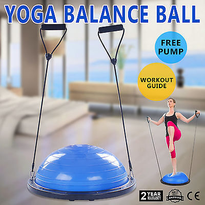 """23"""" Balance Yoga Trainer Ball Kit W/ Pump Blue Exercise Fitness Workout"""
