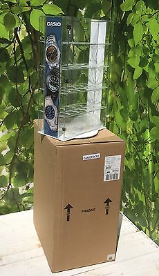 CounterTop Rotating Acrylic Display Casio Watch Collectible Locking Showcase New