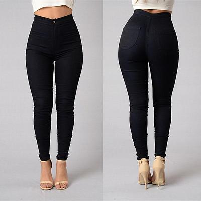 Women Skinny High Waist Casual Jeans Stretch Denim Jeans Pants Pencil Trousers