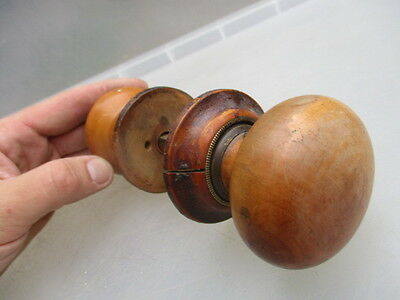 Vintage Wooden Door Knobs Handles with Backing Plates Architectural Salvage Old