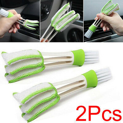 2pcs Car Air Conditioner Outlet Vent Keyboard WIndow Blind Dust Clean Brush Tool