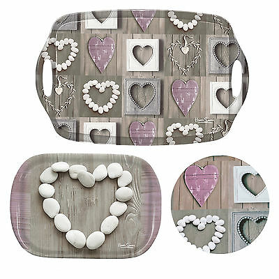 Shabby Chic Pebble Hearts Melamine Serving Tray For Food Tea & Drinks