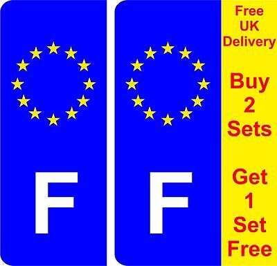 Pair French France Number Plate Stickers road legal car decal vinyl AA143g