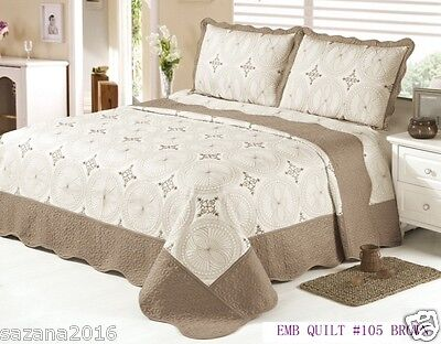 Quilt King Size 3 pc Bedding / Bedspread / embroidered Set