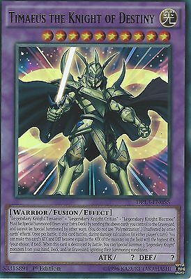 YU-GI-OH ULTRA RARE CARD: TIMAEUS THE KNIGHT OF DESTINY -DRL3-EN055 -1st EDITION
