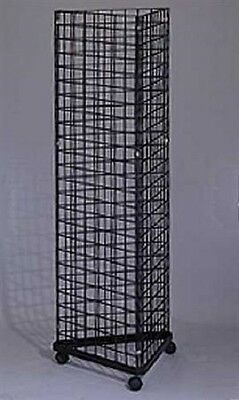 Wire Grid Triangle Tower Display Rack Casters Rolling Castors Black 2' x 5 ½' H