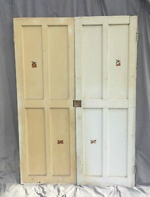Pair Antique Cabinet Pantry Door Kitchen Shabby Cottage Chic Old Vtg 1503-16