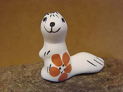 Small Acoma Indian Pueblo Pottery Indian Hand Painted Otter Figurine