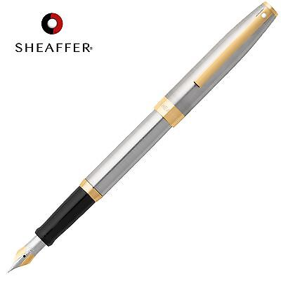 SHEAFFER Sagaris Calligraphy FOUNTAIN PEN Fine Nib Chrome Barrel Luxury GIFT BOX