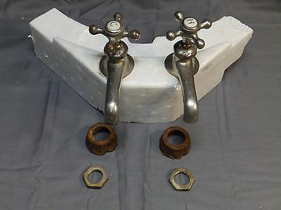 Antique Pr Nickel Brass Separate Hot Cold Sink Faucets Standard Plumbing 1508-16