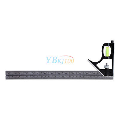 "300mm (12"")Adjustable Engineers Combination Try Square Set Kit Right Angle Ruler"