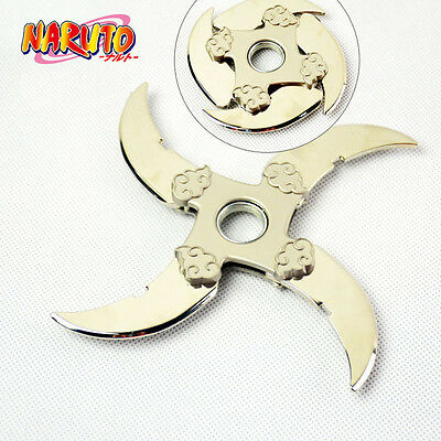 Anime NARUTO Red Cloud Logo Finger Spinner Alloy Shuriken Rotatable Cosplay Toy
