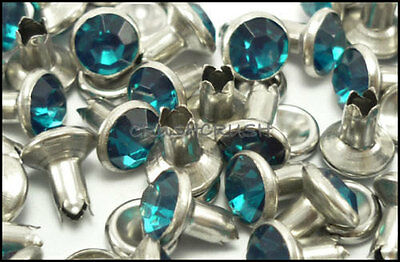 40Set 8mm Blue Zircon Synthetic Crystal RIVETS Leather Craft Decoration 6138RV