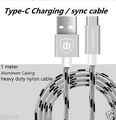 Heavy Duty Nylon Braided USB 3.1 Type-C Data Sync Charger Charging Cable Silver