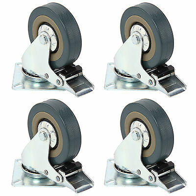 Set of Heavy Duty 75mm Rubber Swivel Castor Wheels Trolley Caster Brake 360KG