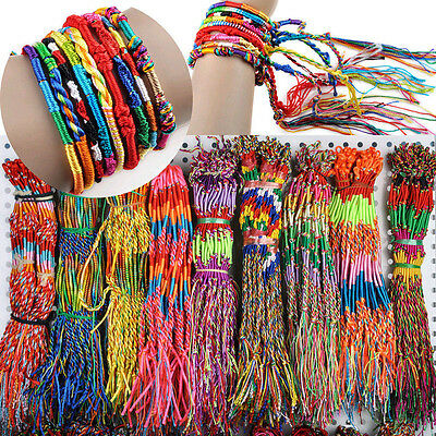 10/20/30/40/50Pc Wholesale Bulk Strands Handmade Braid Friendship Cords Bracelet