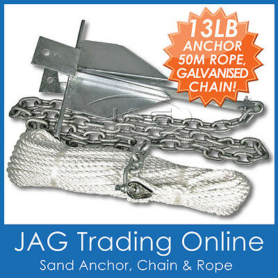 BOAT ANCHORING KIT- 13lb / 6kg Sand Anchor, 2M Galvanised Chain, 50M x 10mm Rope