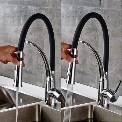 Chrome Pull Down Swivel Spout Kitchen Faucet Black Hose Vessel Sink Mixer Tap