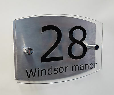 house sign Clear Contemporary modern plaque door number aluminium street name