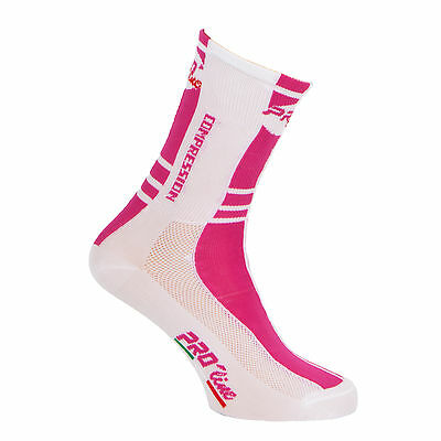 Calzini Ciclismo Proline Magenta Bia Compression Cycling Socks 1 Paio One Size