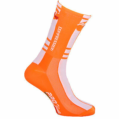 Calzini Ciclismo Proline Bia Arancione Compression Cycling Socks 1 Paio One Size