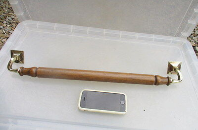 Antique Door Pull Brass & Wood Church Handle Shop Architectural Vintage Old  21""
