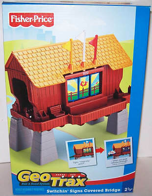 Fisher Price GeoTrax Railroad Switchin' Signs Covered Bridge BRAND NEW IN BOX