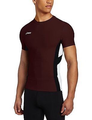Asics Men's Anchor Short Sleeve Tee, Maroon / White