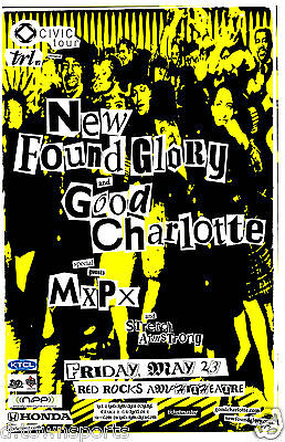 NEW FOUND GLORY Good Charlotte MxPx 2003 Red Rocks 11x17 Show Flyer /Gig Poster