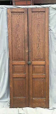 Pair Antique Cabinet Pantry Door Oak Kitchen Vintage Chic Old 1532-16