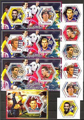Chad 2014 Football Soccer Famous Players set of 6 + 4 S/S MNH**
