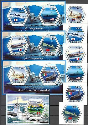 Chad 2014 Ships Submarines Military set of 6 + 4 S/S MNH**