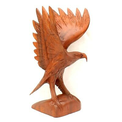 Hand Carved Wooden Eagle 30cm Bird of Prey