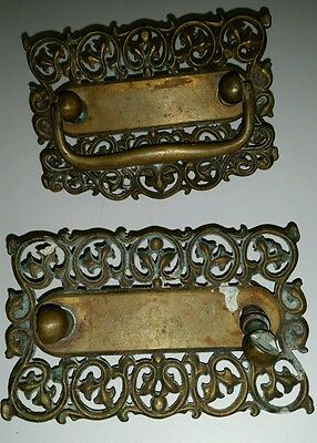 Solid Brass Victorian Filagree Drawer Pull Plates 1 Handle Grb Co. 101