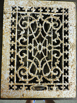 ANTIQUE LATE 1800'S CAST IRON HEATING GRATE UNIQUE ORNATE DESIGN 16 X 12   b